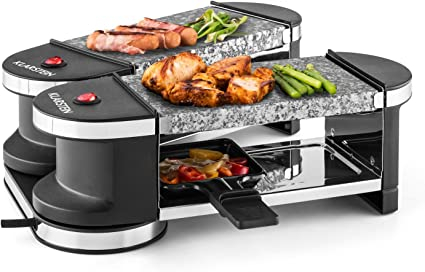 Klarstein Tenderloin Mini Grill raclette Grill de Table, Grill Festif, 600 Watt, 4 poelons et spatules en Bois, Revêtement antiadhésif, articulé à