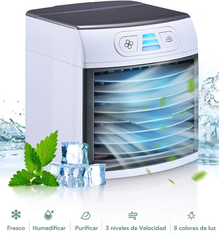 Mini Aire Acondicionado Portátil, Enfriador de Aire en Mesa, humidificador, Ventilador USB,Enfriador evaporativo Compacto con Tanque de Agua de 500 ml, 3 velocidades, 8 Luces para hogar y Oficina: Amazon.es: Hogar