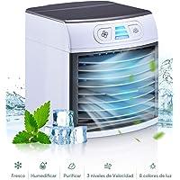 Mini Aire Acondicionado Portátil, Enfriador de Aire en Mesa, humidificador, Ventilador USB,Enfriador evaporativo Compacto con Tanque de Agua de 500 ml, 3 velocidades, 8 Luces para hogar y Oficina