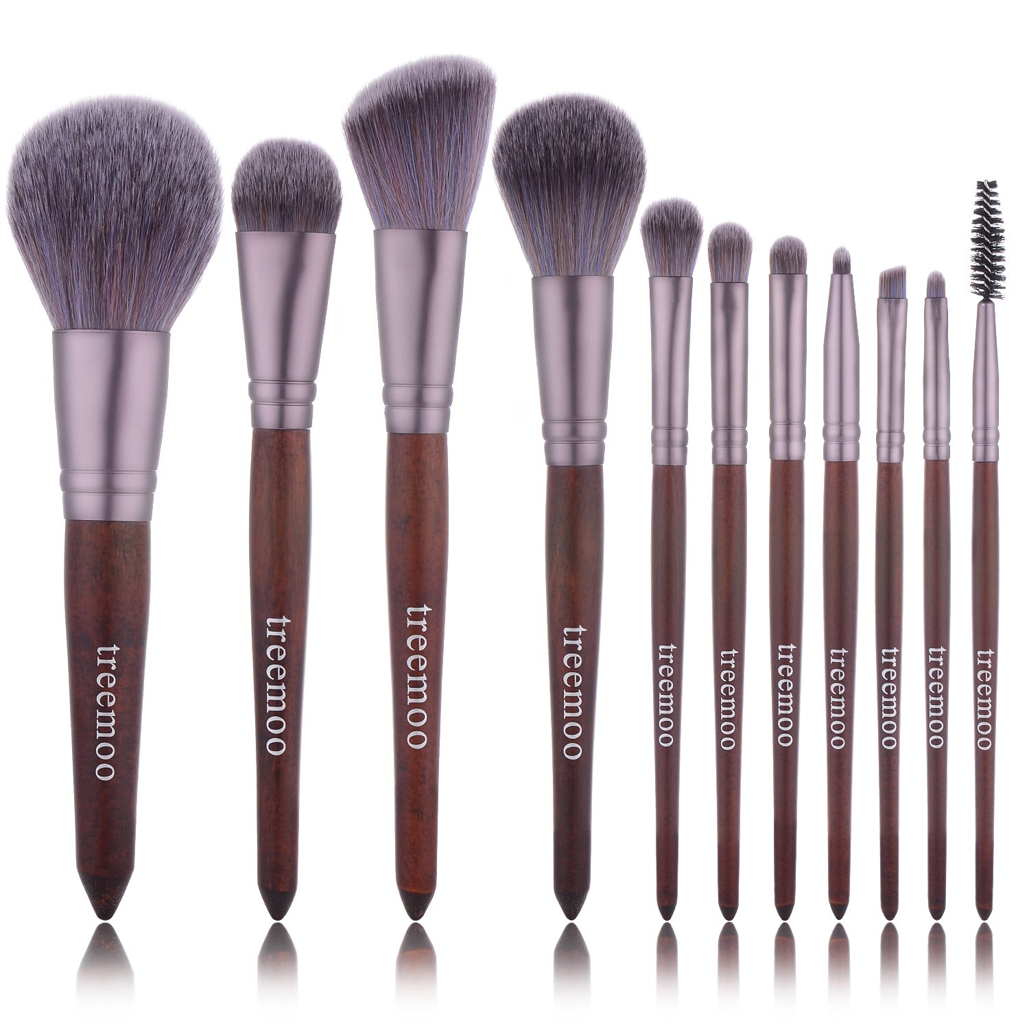 Makeup Brush Set Treemoo 11pcs Professional Wooden Handle Makeup Brushes Soft and Thick Bristles with Foundation Face Eyebrow Eye Shadow Brush