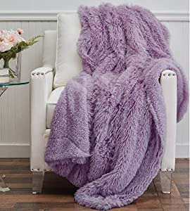 The Connecticut Home Company Shag with Sherpa Reversible Throw Blanket, Many Colors, Super Soft Large Plush Luxury Blankets, Warm and Hypoallergenic Washable Couch or Bed Throws, 65x50, Purple