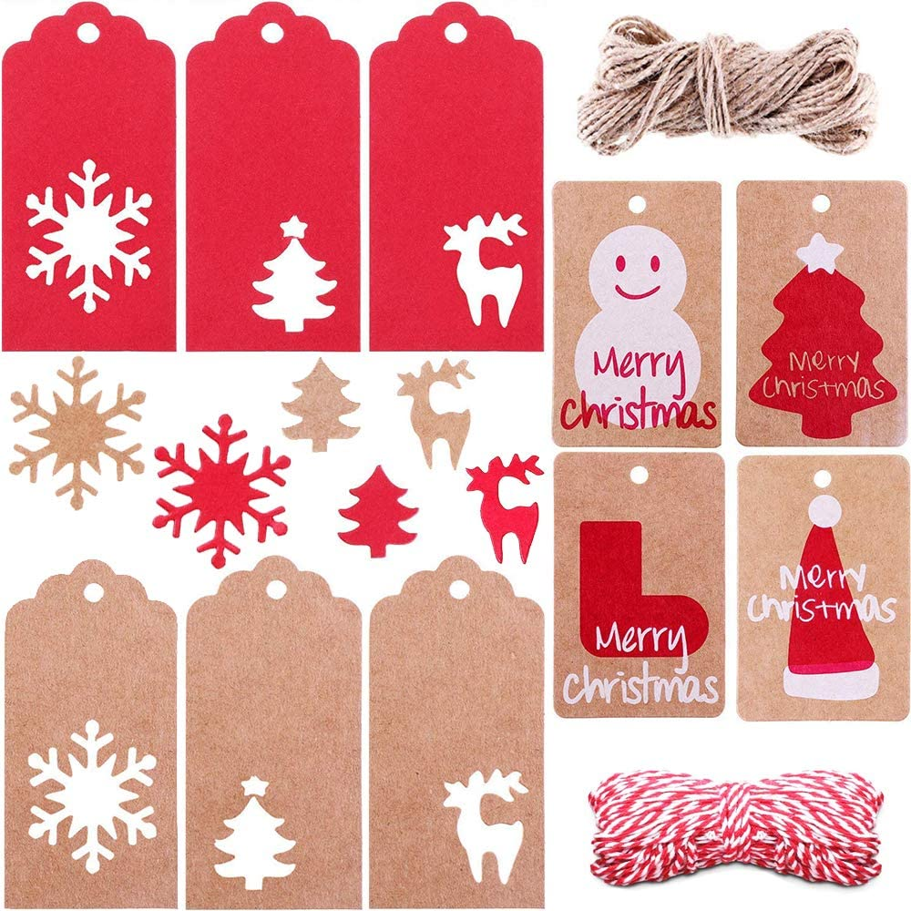 10 Dog Bone Tags SNOWFLAKE..patterned paper+chipboard tags with string attached
