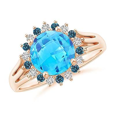 Angara Swiss Blue Topaz Triple Shank Ring with Alternating Halo RrPiN