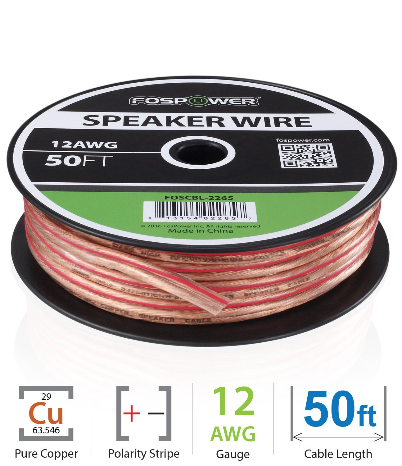 FosPower 12AWG Speaker Wire [12 Gauge | 50 FT] Premium Spooled Oxygen-Free Copper OFC Speaker Wire with Clear PVC Jacket & Polarity Stripe