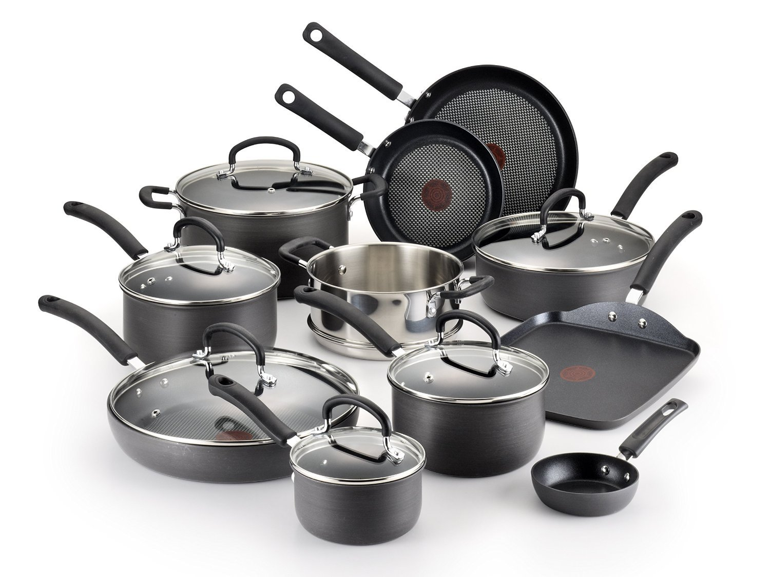 T-fal Gray E765SH Titanium 17 Item Hard Anodized set