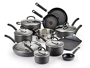 T-fal Hard Anodized Cookware Set, Nonstick Pots and Pans Set, 17 Piece, Thermo-Spot Heat Indicator,Black