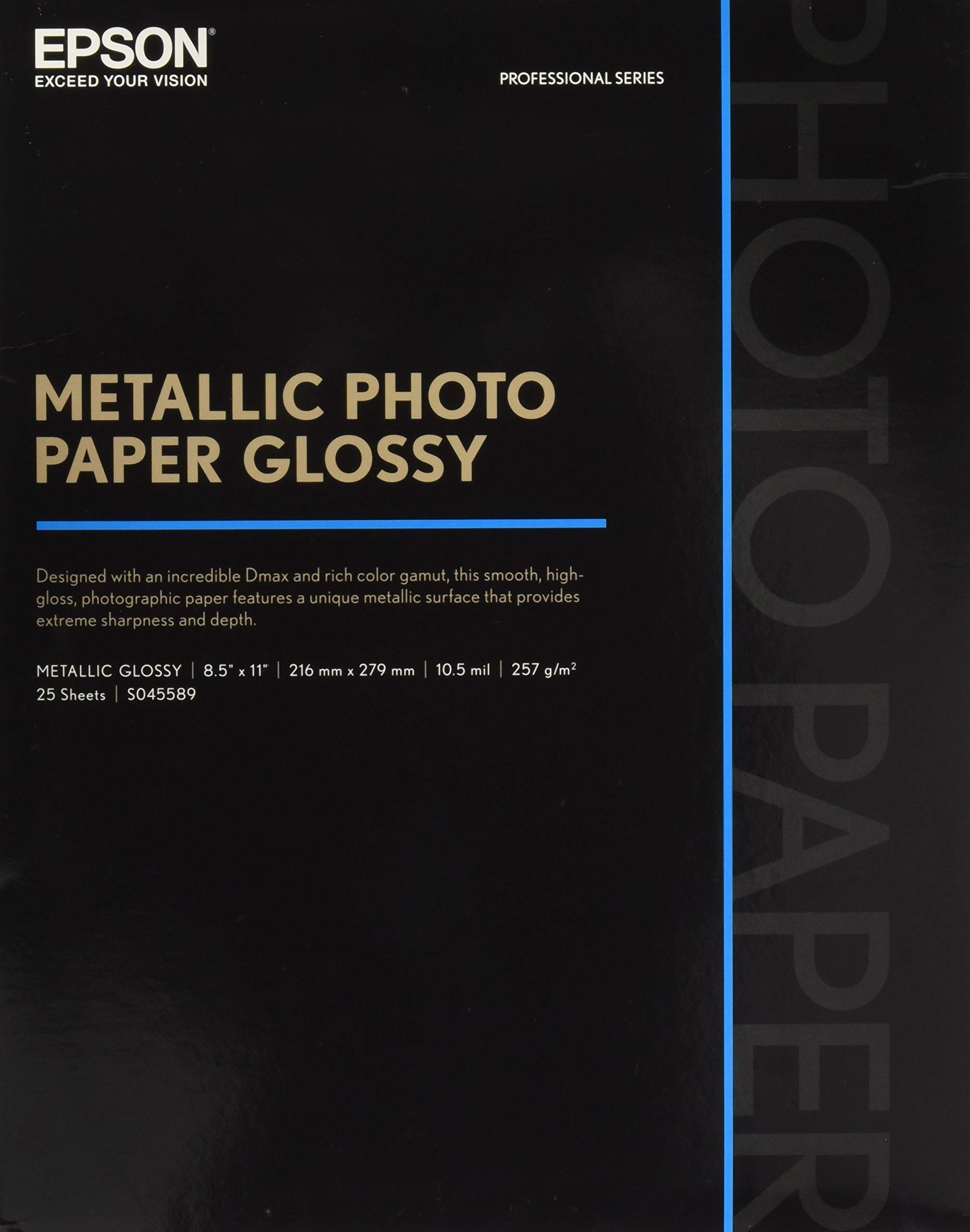 Epson S045589 Professional Series Metallic Photo Paper Glossy, 25 Sheets, 8.5x11 inch by Epson