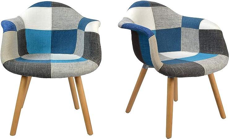 MeillAcc Set di 2 poltrone Multicolore Patchwork in Tessuto di Lino per Cucina Moderne Poltroncina Patchwork Camera da Letto con Schienale e Braccioli