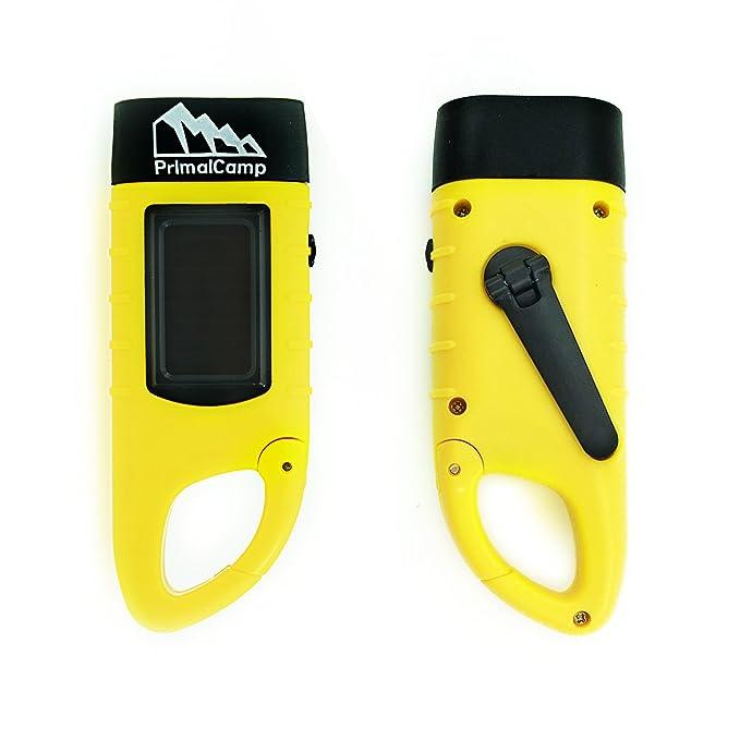 PrimalCamp - Linterna LED recargable con energía solar para manivela de mano: linterna de sobrevivencia, auto carga, linterna y dinamo - Mejor para pesca en ...
