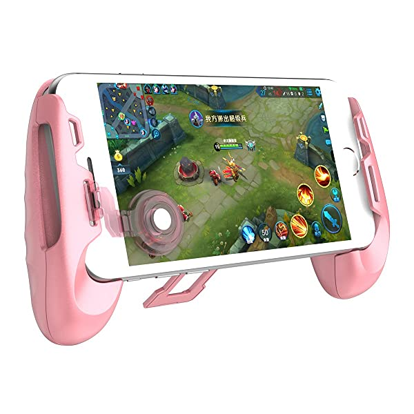 GameSir F1 Mobile Joystick Controller Grip Case for Smartphones, Mobile Phone Gaming Grip with Joystick, Controller Holder Stand Joypad with Ergonomic Design (Color: Pink)