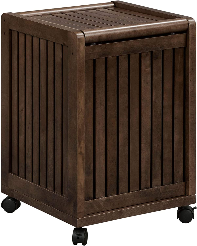 NewRidge Home GoodsNewRidge Home Solid Wood Abingdon Mobile (Rolling) Laundry Hamper with Lid, Multiple Colors One Size Espresso