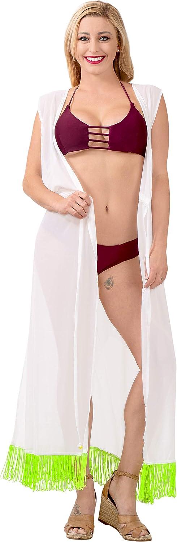 LA LEELA Chiffon Kimono Cardigan Lungo Donna Estivo Pizzo Boho Copricostume Abito da Mare Spiaggia per Costumi da Bagno Cape Bikini Cover Up B