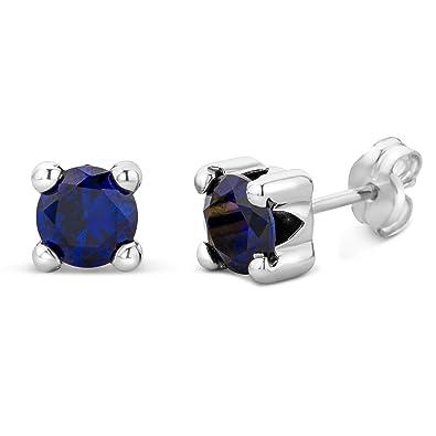 Miore Earrings Women Yellow Gold studs Solitaire Blue Sapphire 9 Kt/375 4dJOk