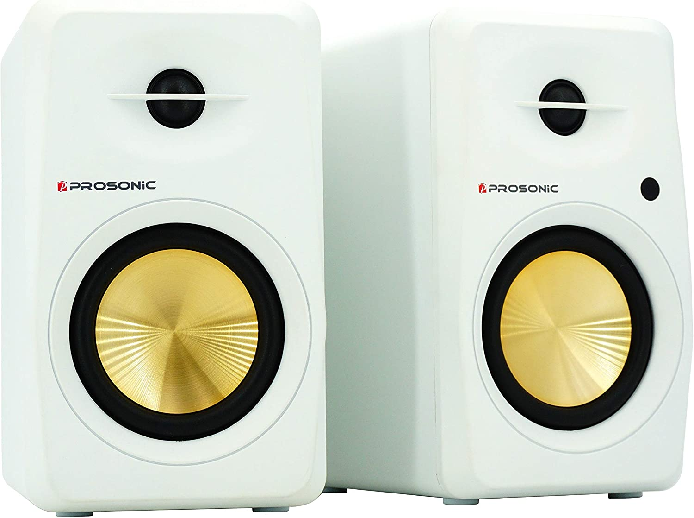 Prosonic Active Bluetooth Bookshelf Speaker Studio Monitor Home Theater, Optical Input, Coaxial Input, 2 x RCA Aux Input, 30 Watts x 2 (White)
