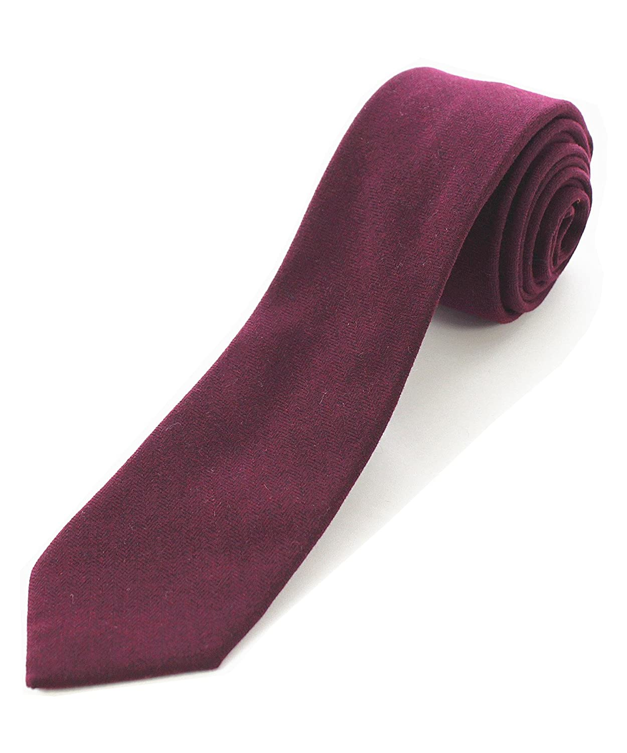 JEMYGINS 2.4 Cotton Necktie Solid Mens Cashmere Wool Skinny Tie