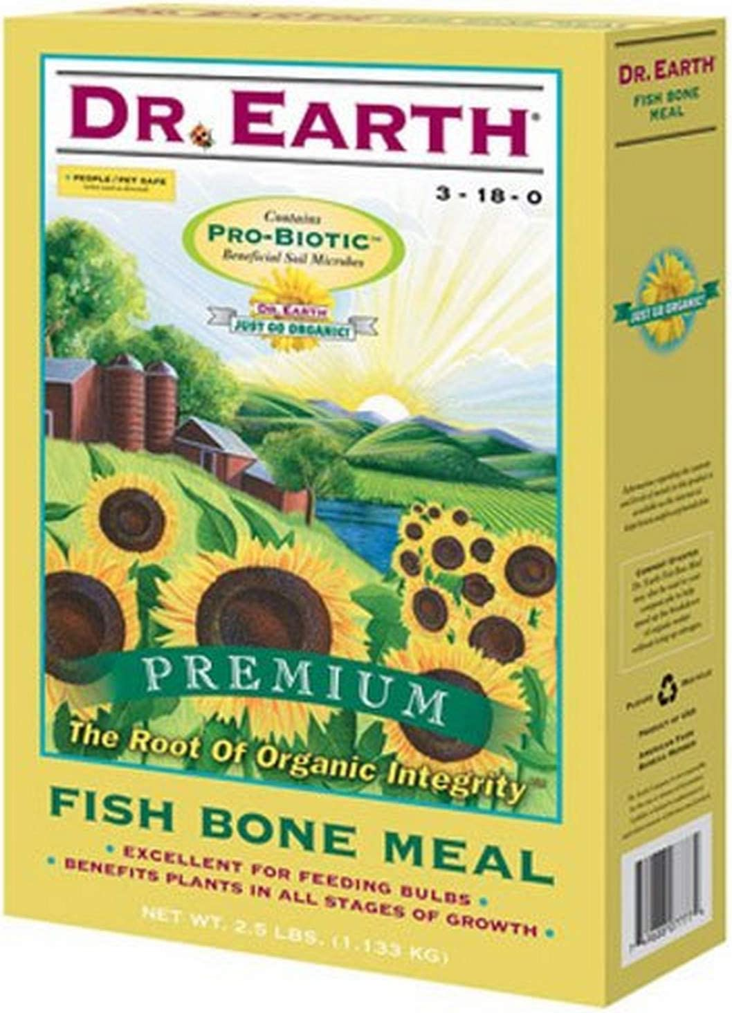 Dr. Earth 722 Fish Bone Meal 3-18-0 Boxed, 2-1/2-Pound,Multi