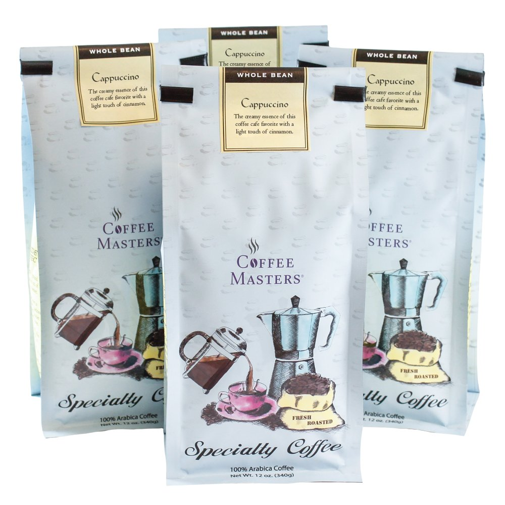 Coffee Masters Flavored Coffee, Cappuccino, Whole Bean, 12-Ounce Bags (Pack of 4)