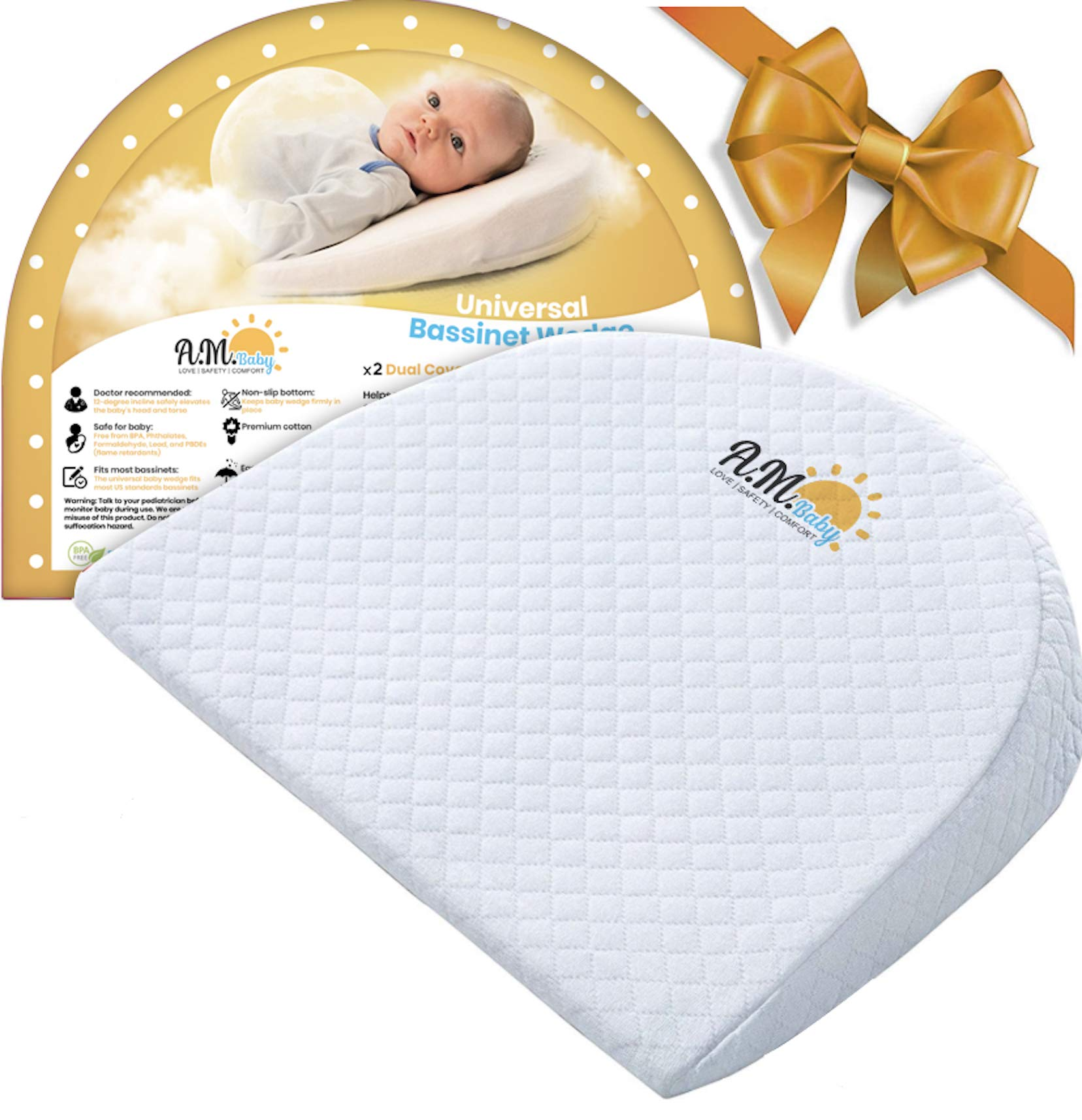Universal Baby Bassinet Wedge for Acid Reflux, Spit ups, Colic Relief   Elevated Incline Pillow for Better Night Sleep for Newborn  Washable Cotton and Waterproof  Nursery Safe   by A.M. Baby