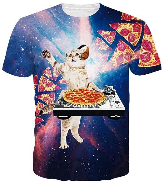 aea3715fb Idgreatim Men s 3D Cosmic Pizza Cat Print Short Sleeve T-Shirts Tees Small
