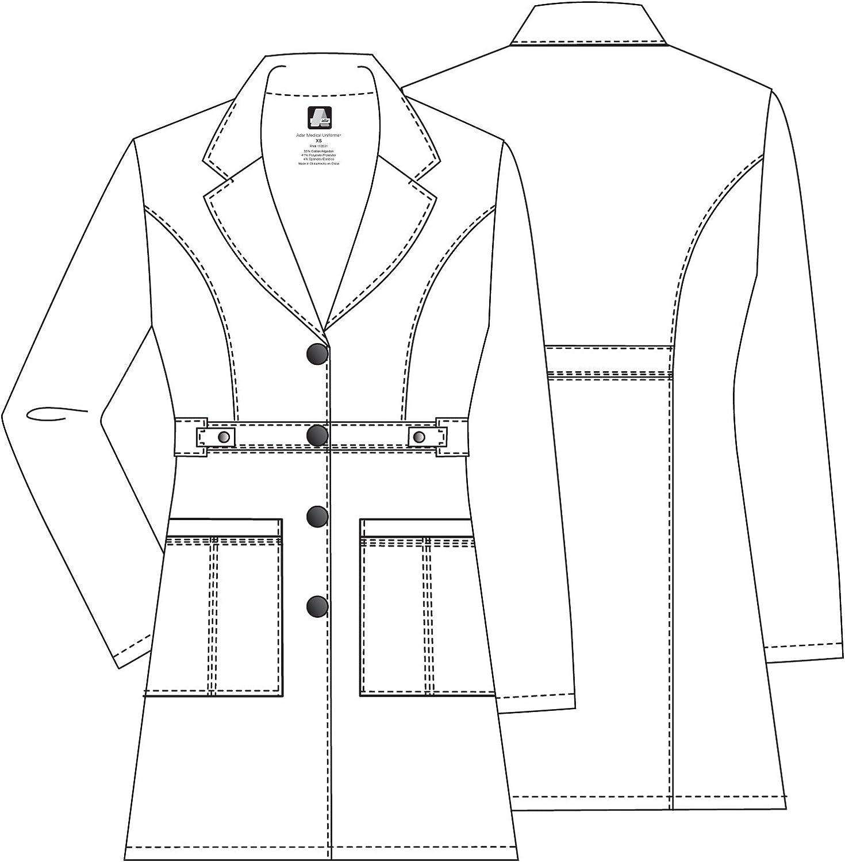 """Adar Pop-Stretch Lab Coat for Women - 36"""" Tab-Waist Lab Coat: Clothing"""