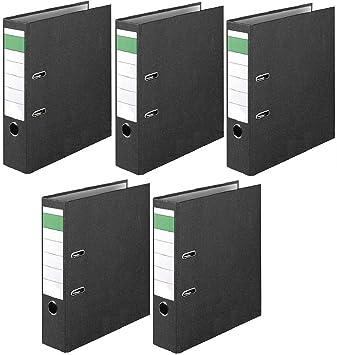 5 Archivadores de anillas con coberturas color mármol/negro 8CM: Amazon.es: Oficina y papelería