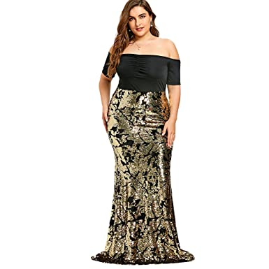 CharMma Womens Plus Size Sexy Off The Shoulder Sequined Mermaid Prom Dress (Golden, ...