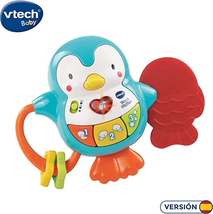 VTech - Tino el pingüino, Juguete para bebé, mordedor y sonajero ...