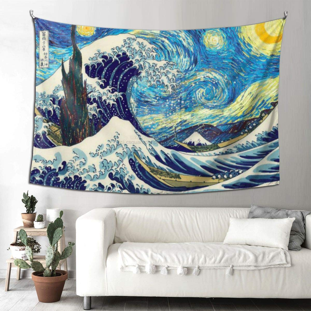 "SSUI Japan Waves Tapestry Wall Hanging for Room Art Tapestry Home Decor Wall Decor (90"" X 60""Inch)"