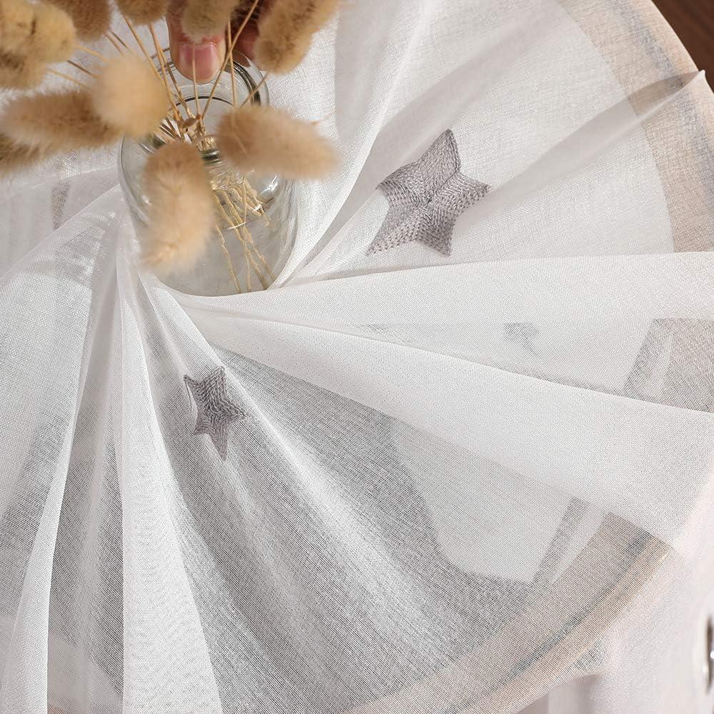 MIULEE Lot de 2 Voilages /à Oeillet Moustiquaire Broderie en Polyester Motifs de Petits Etoiles Voile Rideaux de Fen/être D/écoratives pour Salon Chambre Bleu 145 X 140cm H x L