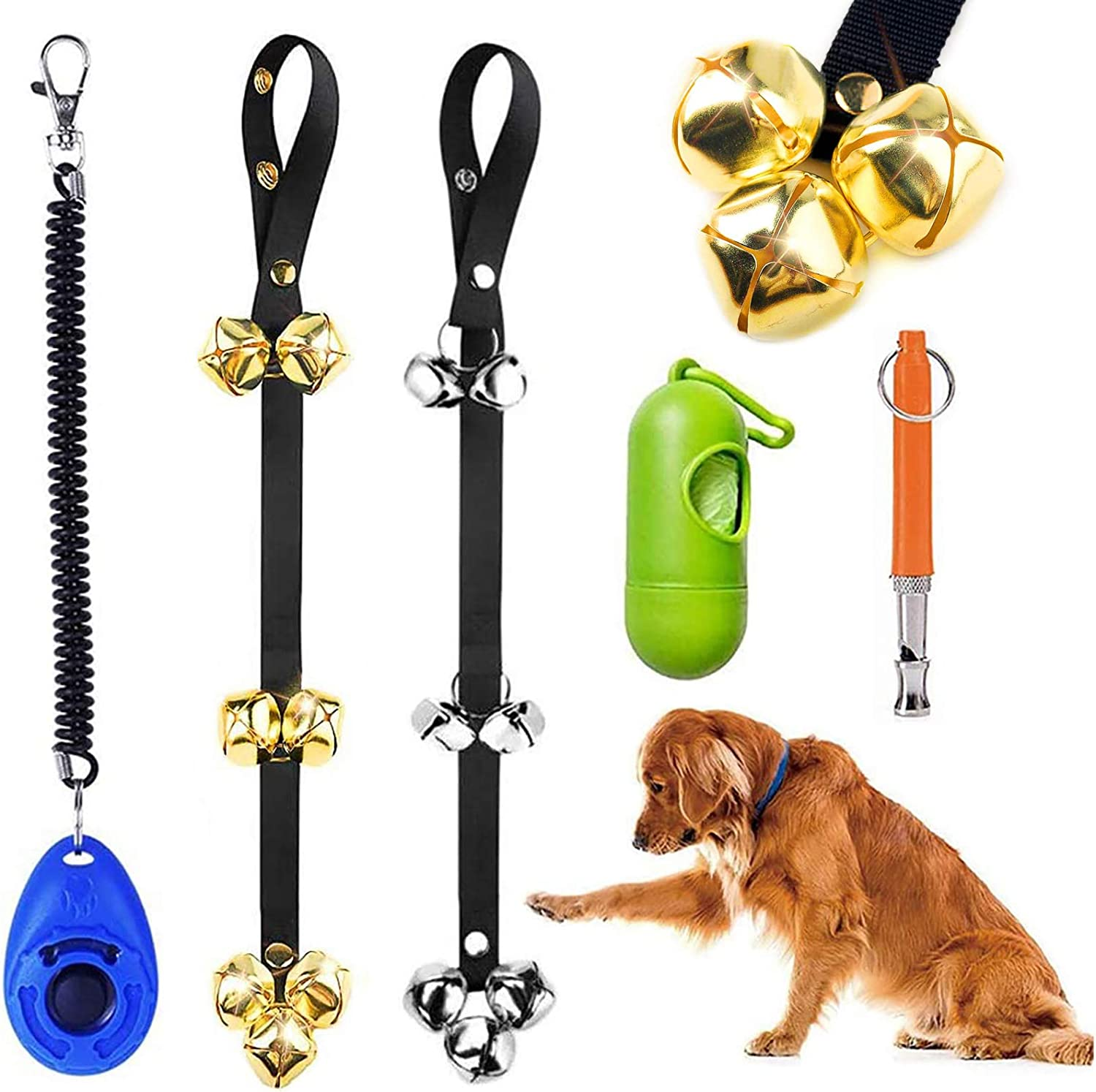 Orangelight 2 Pack Dog Doorbell Training Adjustable Premium Quality Door Bell for Puppy Ring to go Outside Potty Bells Premium Quality Nylon Dog Loud Bells