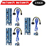 Ptsaying PCIe PCI-E 16x 8x 4x 1x Carte Adaptateur Rise Powered avec câble d'extension USB 3.0 de 60cm et câble PCI 6 PCI-E sur SATA - Adaptateur RER GPU - Ethereum Mining ETH (3PCS)