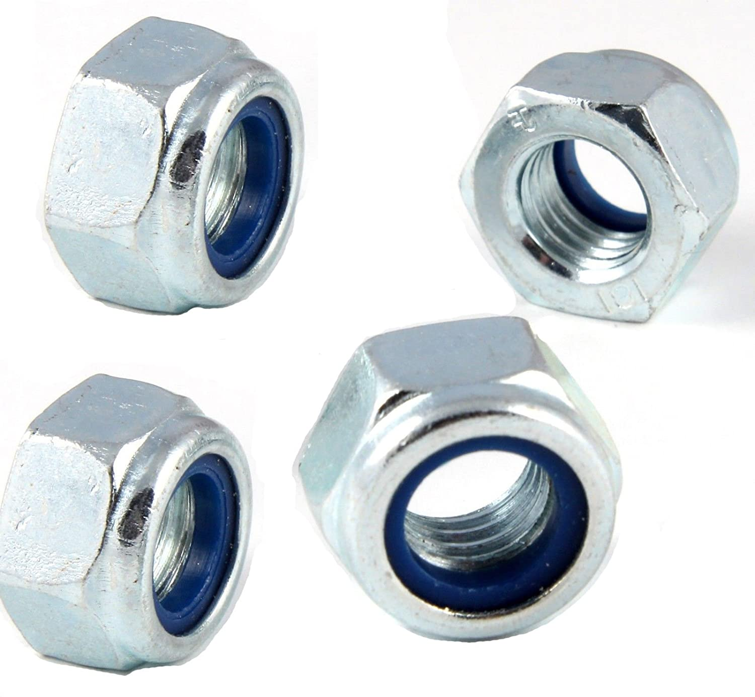 Metric Hexagon Nyloc Nylon Insert Locking Nuts M24 x 3.0mm Pitch Bright Zinc Plated Grade 6 (Pack of 4) J&A Racing