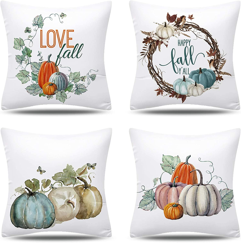 KOILLUXU 4 Piece Pillow Covers (Thanksgiving-Pumpkin Short Velvet) Fall Pillow Covers 18x18 inch Thanksgiving Farmhouse Decorative Throw Pillow with Classic Pumpkin Design, Autumn Decor for Home