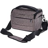 Andoer quaderförmige DSLR Kamera-Schulter-Beutel-beweglicher Art und Weise Polyester-Kameratasche für 1 Kamera 2 Objektive und Klein Zubehör für Canon Nikon Sony Fujifilm Olympus Panasonic (Braun)