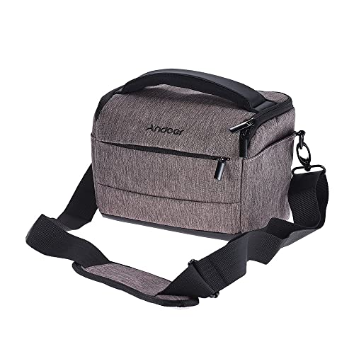 Andoer DSLR Camera Shoulder Bag Cuboid-shaped Portable Fashion Polyester Camera Case for Canon Nikon Sony FujiFilm Olympus Panasonic (Brown)