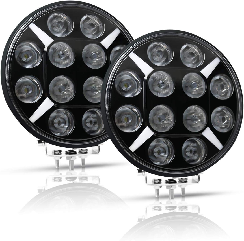 Round LED Off Road Light Driving Lights for Truck Pickup Jeep SUV ATV UTV AAIWA 2PCS 120W Flood Spot Combo Light Bar 4.5 Inch LED Work Light