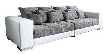 Big-Sofa XXL-Couch Wohnzimmercouch ADONIS | Grau-Weiß | Kunstleder ...