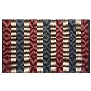 Homescapes Tappeto moderno con motivo geometrico, resistente, adatto per corridoi, soggiorni o verande, in iuta, Juta, Red & Blue, 60 x 100 cm
