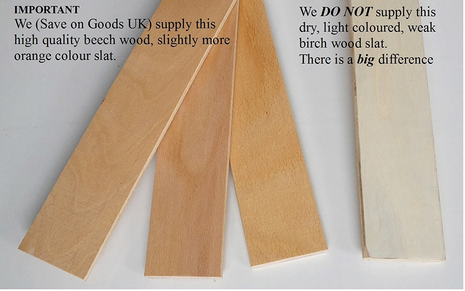 Pack of 1,2,4 etc 6cm wide replacement spare slatts.Wood metal bed frame slats,slates, curved,bent wooden sprung beech (1) (1) World Goods