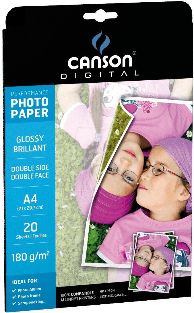 Canson Digital Performance Double Face Papier Photo Brillant 180 g 20 Feuilles A4 Blanc