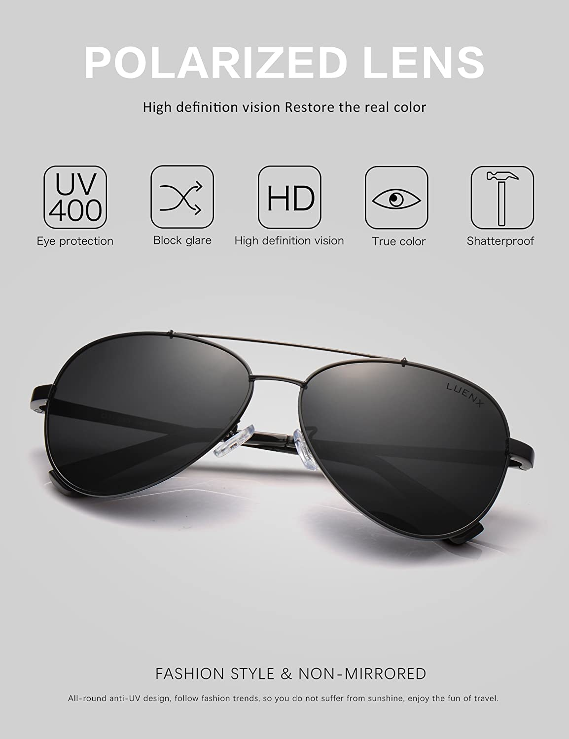 2fc451f563eb3 Amazon.com  LUENX Men Women Aviator Sunglasses Polarized Non-Mirror Black  Lens Black Metal Frame with Accessories UV 400 Protection 60MM  Sports    Outdoors
