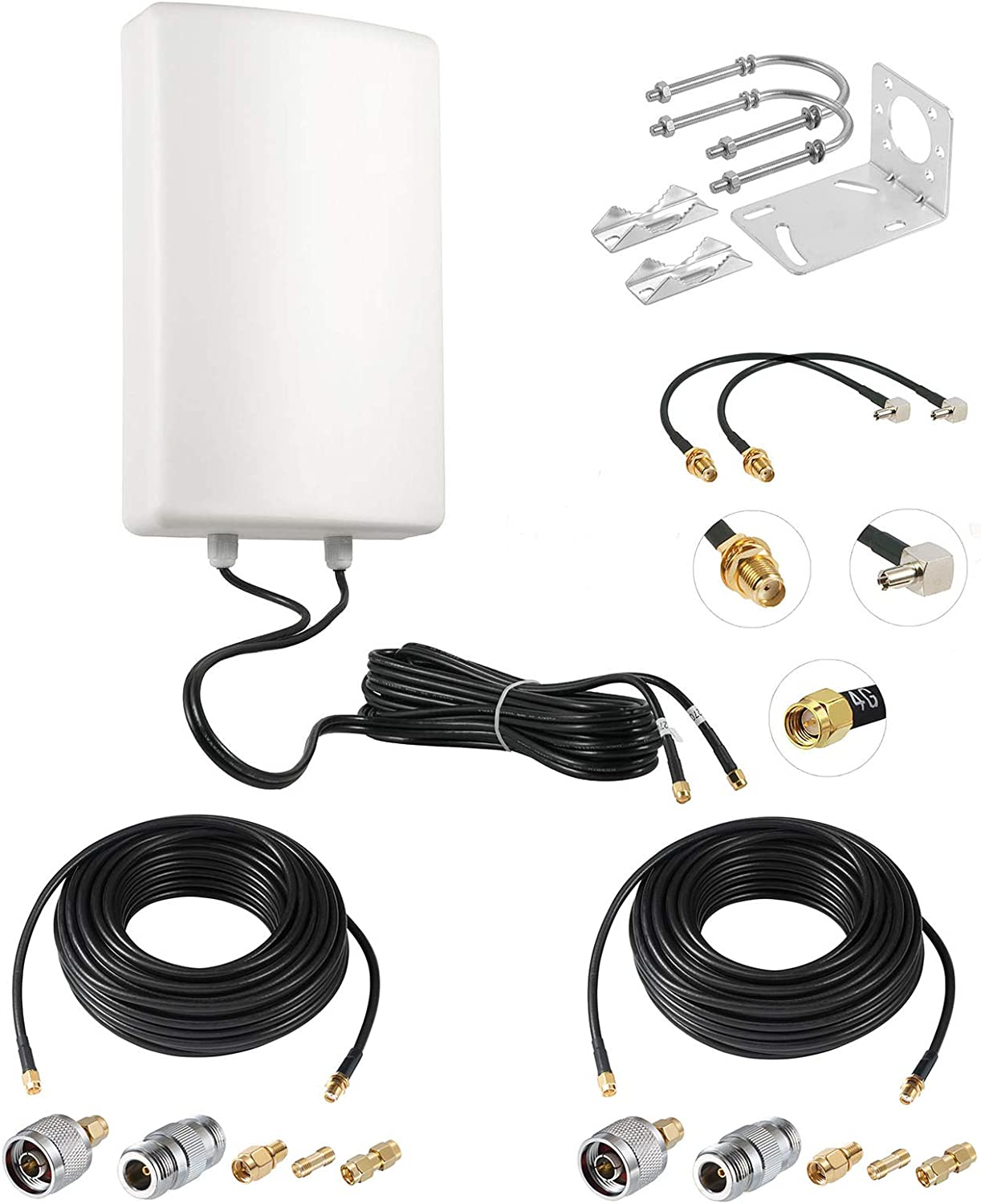 11dBi High Gain 4G LTE Outdoor Dual Polarized MIMO Antenna for Verizon AT&T T-Mobile Sprint Router Signal Booster Cellular Amplifier + 2 Kits 49.2 Feet SMA Extension Cable