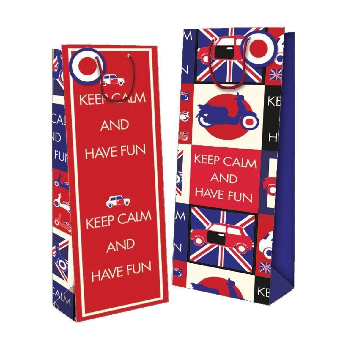 4 Pack Bottle Gift Bag Vintage Keep Calm And Have Fun Design Blue Red Tag Car Wine Retro Concept4u