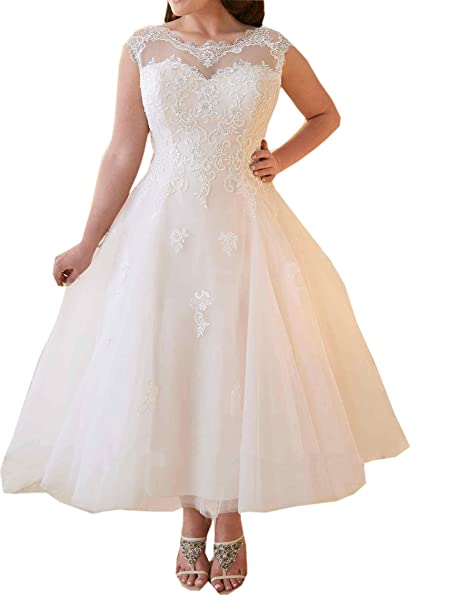 Plus Size Wedding Dresses for Bride 2019 Lace Beach Bride Dress Ankle  Length Corset Back