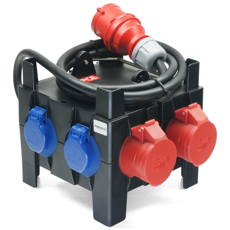 Kunststoff-Mobilverteiler IMST CEE-Stecker 400V//16A H07RN-F 5x2,5 mm/² mit 2x CEE 400V//16A 5x SK 230V//16A IP54 ungesichert