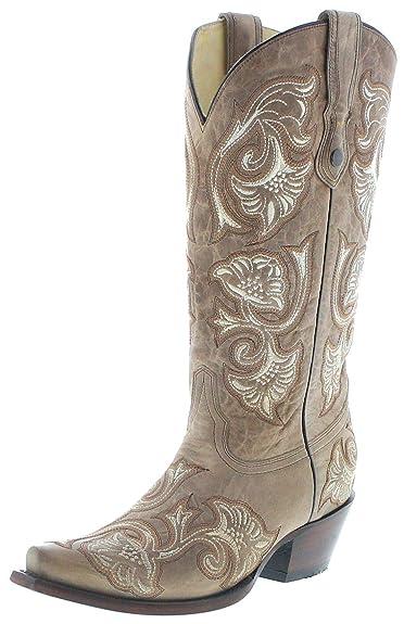 Corral Boots G1086 Cowboy Bottes en Cuir pour Femme Beige