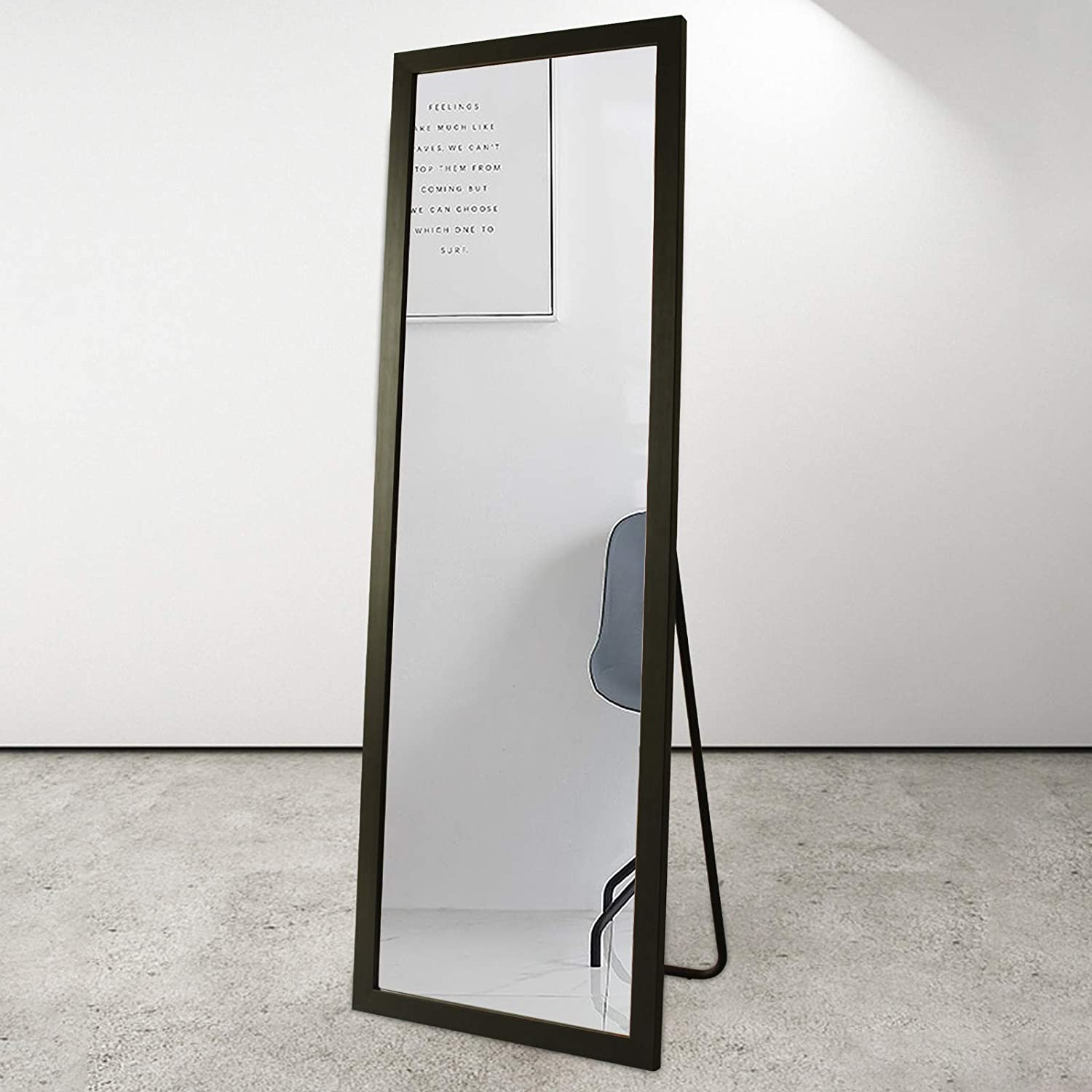 """BOLEN Full Length Mirror PS Polymer Frame Mirror Standing Hanging or Leaning Against Wall Mirror Dressing Mirror 65""""x22""""(Black)"""