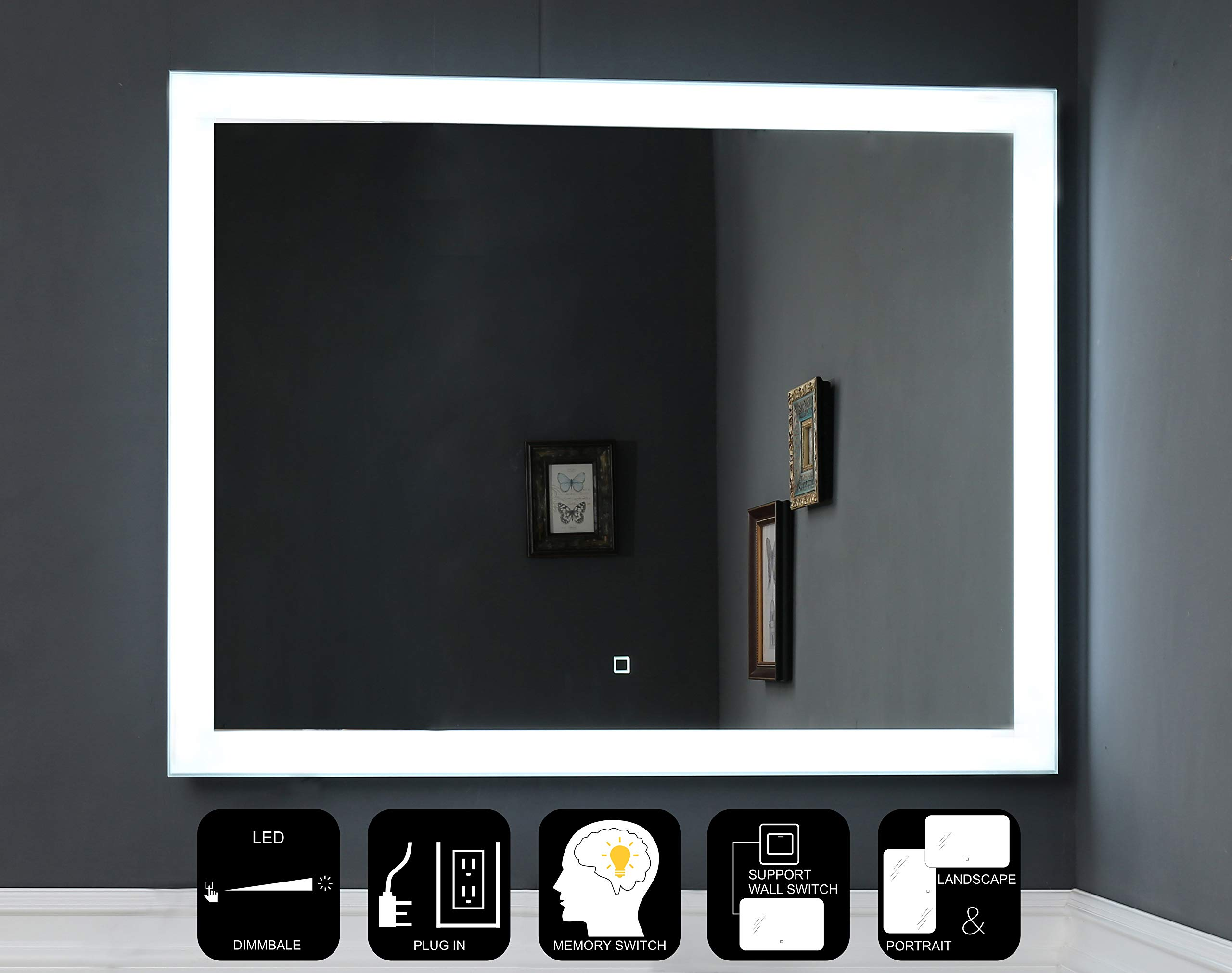 JOVOL Dimmable LED Lighted Bathroom Mirror Wall Mounted Vanity Mirror  Dimmable Touch Switch  6500K High Lumen LED  True Color CRI>90  Vertical &Horizontal Installation (Phoebe-4836 48x36 inch) by JOVOL
