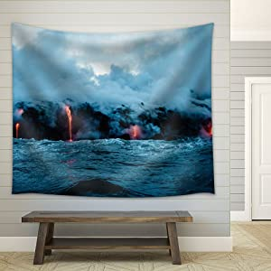 wall26 - Nature Scenery of Volcanic Eruption with Lava and Smoke - Fabric Wall Tapestry Home Decor - 68x80 inches