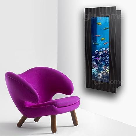 Vertical montado en la pared acuario Fish Tank Cristal + accesorios plata negro